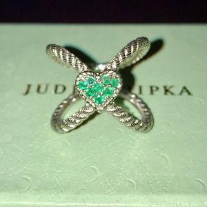 JUDITH RIPKA OPENWORK RING•EMERALDS N HEART DESIGN